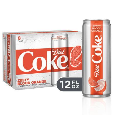(3 Pack) Diet Coke Slim Can Soda, Zesty Blood Orange, 12 Fl Oz, 8