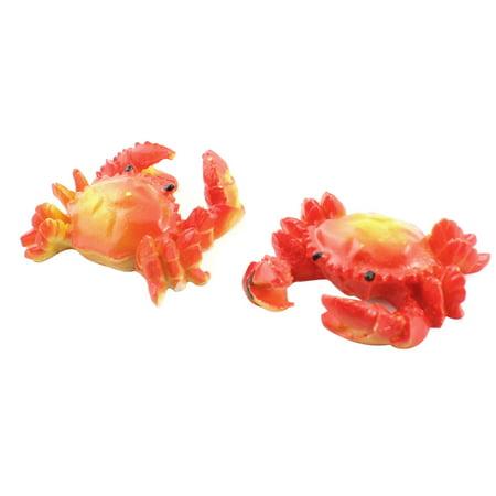 Red Crab - 2 Pcs Artificial Orange Red Ceramic Crab Design Underwater Decor for Fish Tank