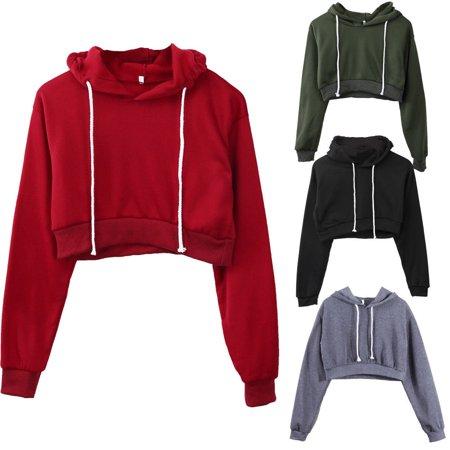 New Womens Fleece Long Sleeve Crop Top Pullover Hooded Sweatshirt Cropped Hoodie