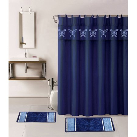 15 Piece Multi Color Jacquard Bath Rug Set Butterfly Navy Blue Design Shower Curtain Matching