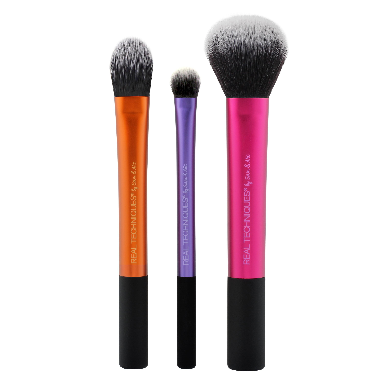 Real Techniques Travel Essentials 2.0 Makeup Brush Set, 3PC