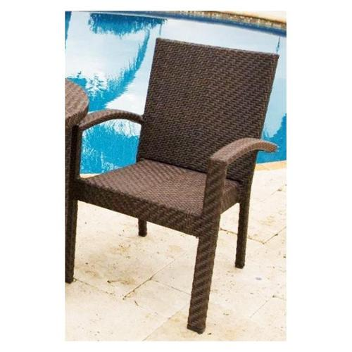 Soho Patio Dining Arm Chair in Rehau Fiber Java Brown Finish