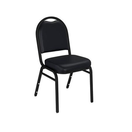 Vinyl Padded Stack Chair - NPS® 9200 Series Premium Vinyl Upholstered Padded Stack Chair, Panther Black/Black Santex (2 Pack)