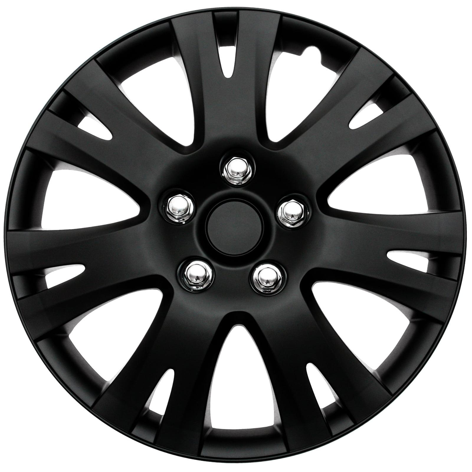 4 Pc Set Hub Cap Abs Black Matte 16 Inch For Oem Steel Wheel Cover