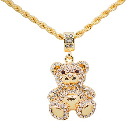 """14K Yellow Gold Plated Hip Hop Bling Teddy Bear Pendant with 24"""" Rope Chain"""