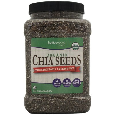Betterbody Foods Organic Chia Seeds, 2.0 Lb
