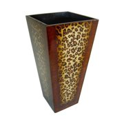 Cheung's FP-2630-12LP Wooden 12 inch Tall Decorative Planter with Leopard Print