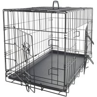 "Paws & Pals 30"" Heavy Duty Foldable Double Door Dog Crate with Divider and Removable ABS Plastic Tray, 30"" x 18"" x 20"""