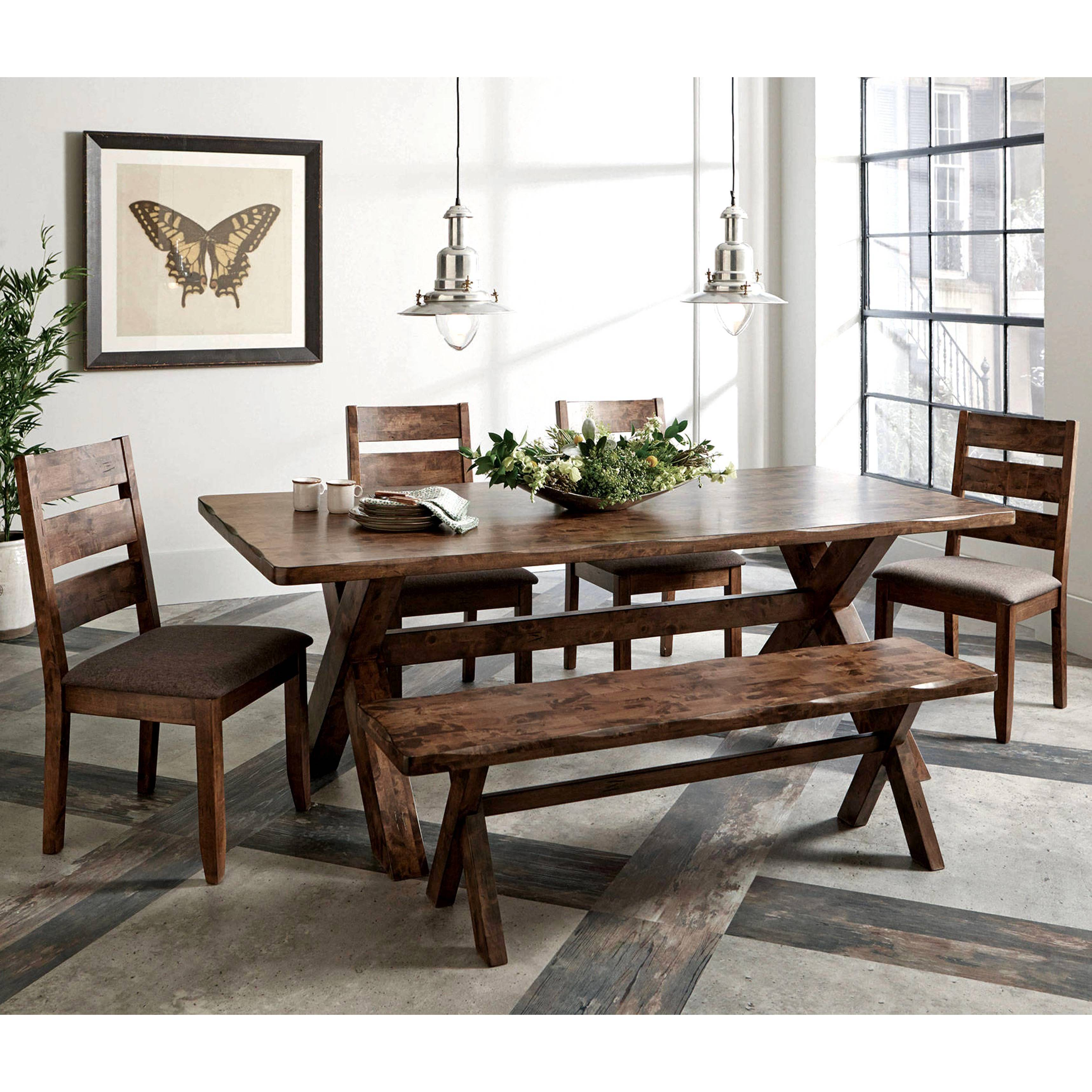 A Line Furniture Rustic Knotty Burl Designed Country Style Dining Set