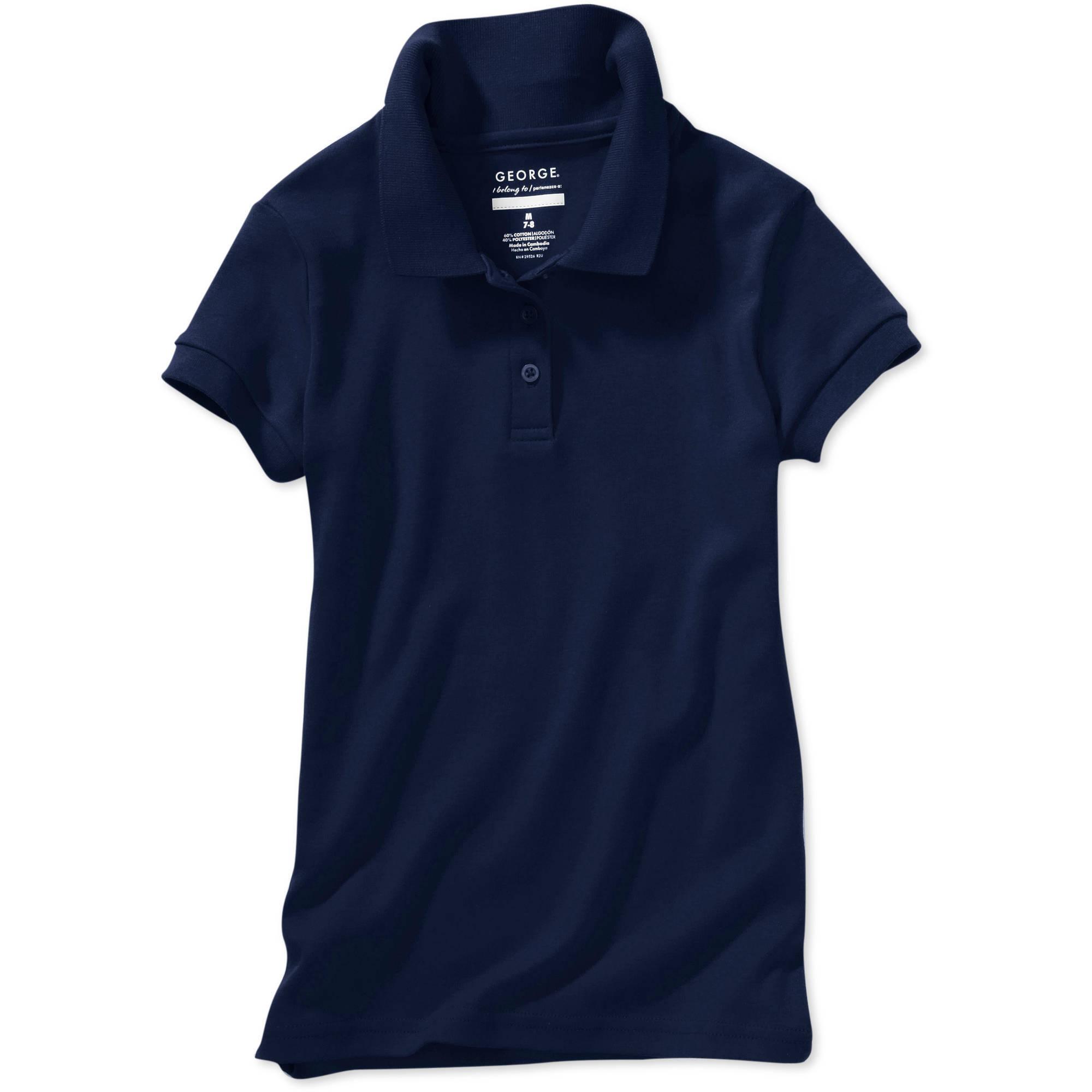 George School Uniform Girls Plus Size Short Sleeve Polo Shirt With Scotchgard Stain Resistant Treatment