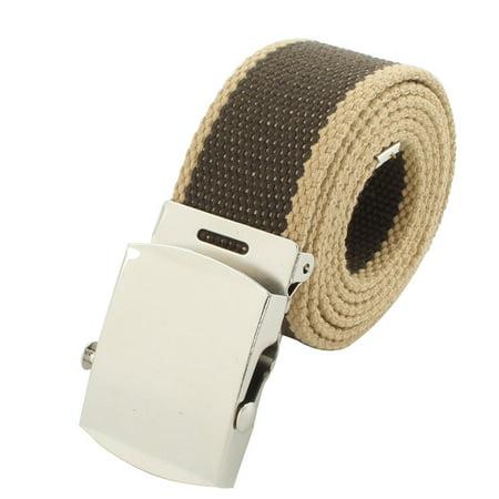 Teenagers Casual Nylon Adjustable Canvas Web Waist Buckle Belt Stripe Green - image 5 of 5