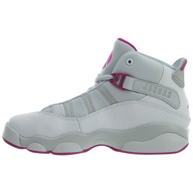 Nike 323431-011: Jordan 6 Rings GP Girls Pure Platinum/Fuchsia Sneaker