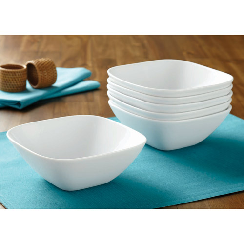 Better Homes and Gardens Soft Square Bowls, White, Set of 6