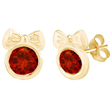 Round Shape Simulated Red Garnet Minnie Mouse Bow Stud Earrings 14K Yellow Gold Over Sterling Silver ()