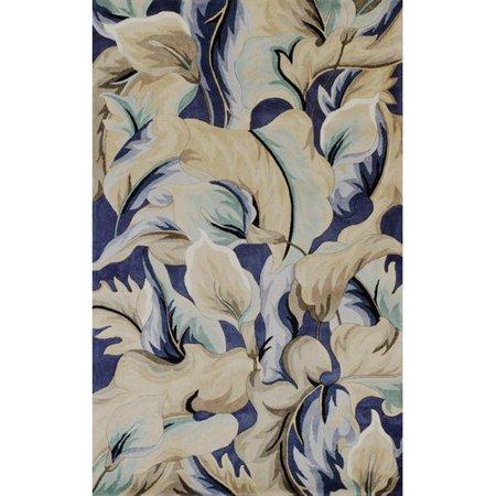 Bay Isle Home Rowan Calla Lillies Hand-Tufted Wool Blue Area Rug