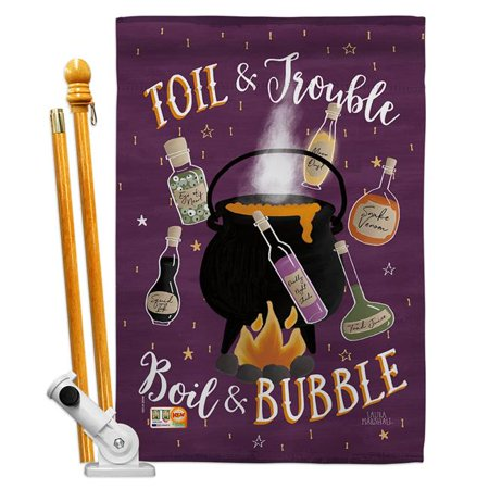 Breeze Decor BD-HO-HS-112080-IP-BO-D-US18-WA 28 x 40 in. Toil & Trouble Fall Halloween Impressions Decorative Vertical Double Sided House Flag Set with Pole Bracket & Hardware - image 1 de 1