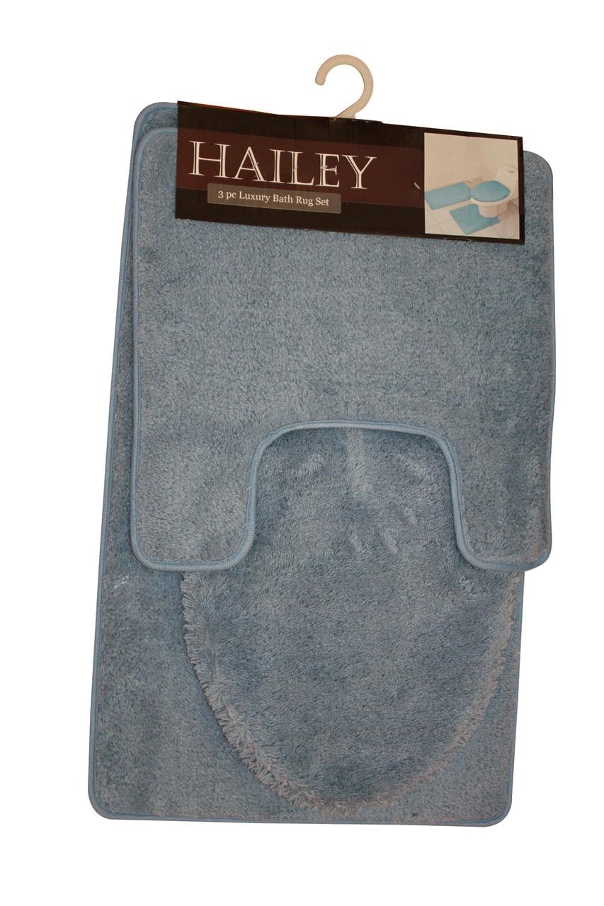 Hailey 3 Piece Bathroom Rug Set Bath Mat Contour Rug
