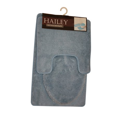 Bath Functional 3 Light - Kashi Home RS022485 18 x 30 In. Hailey 3 Piece Bath Mat - Light Blue