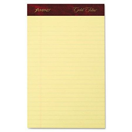 Ampad Legal Pad - ampad 20029 gold fibre writing pads, jr. legal rule, 5 x 8, canary, 50 sheets, 4/pack