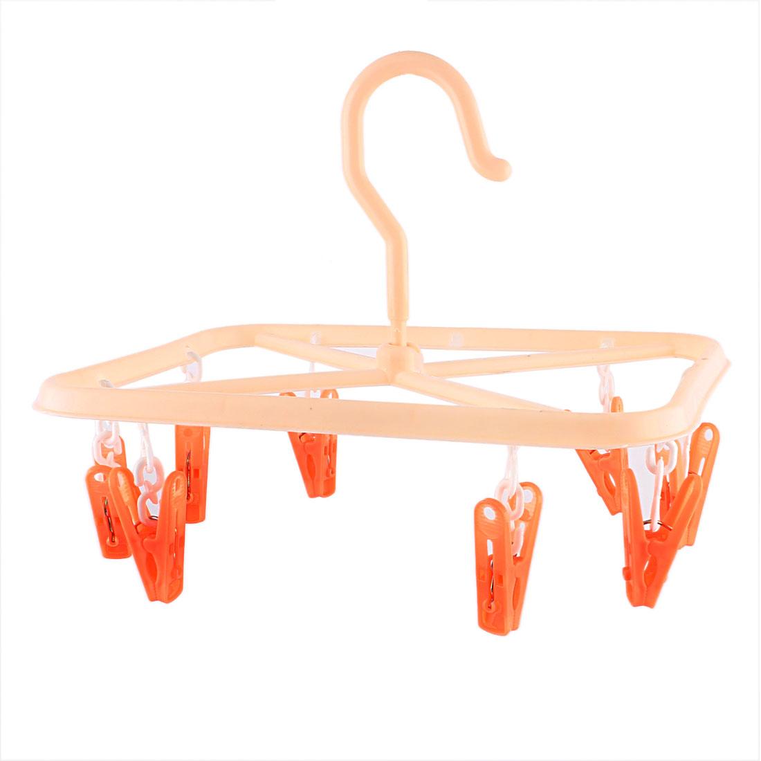 Unique Bargains Plastic Rectangle Frame 8 Pegs Clothes Socks Dryer Rack Clips Hanger Orange