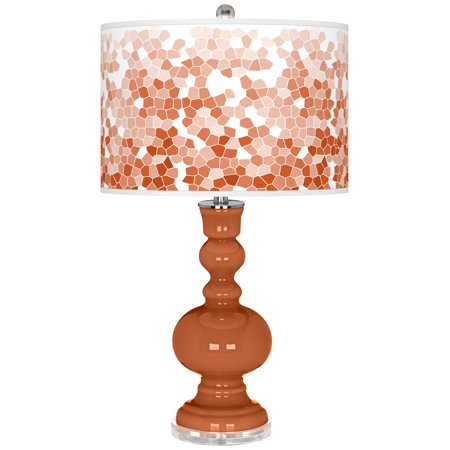 Color + Plus Robust Orange Mosaic Giclee Apothecary Table Lamp