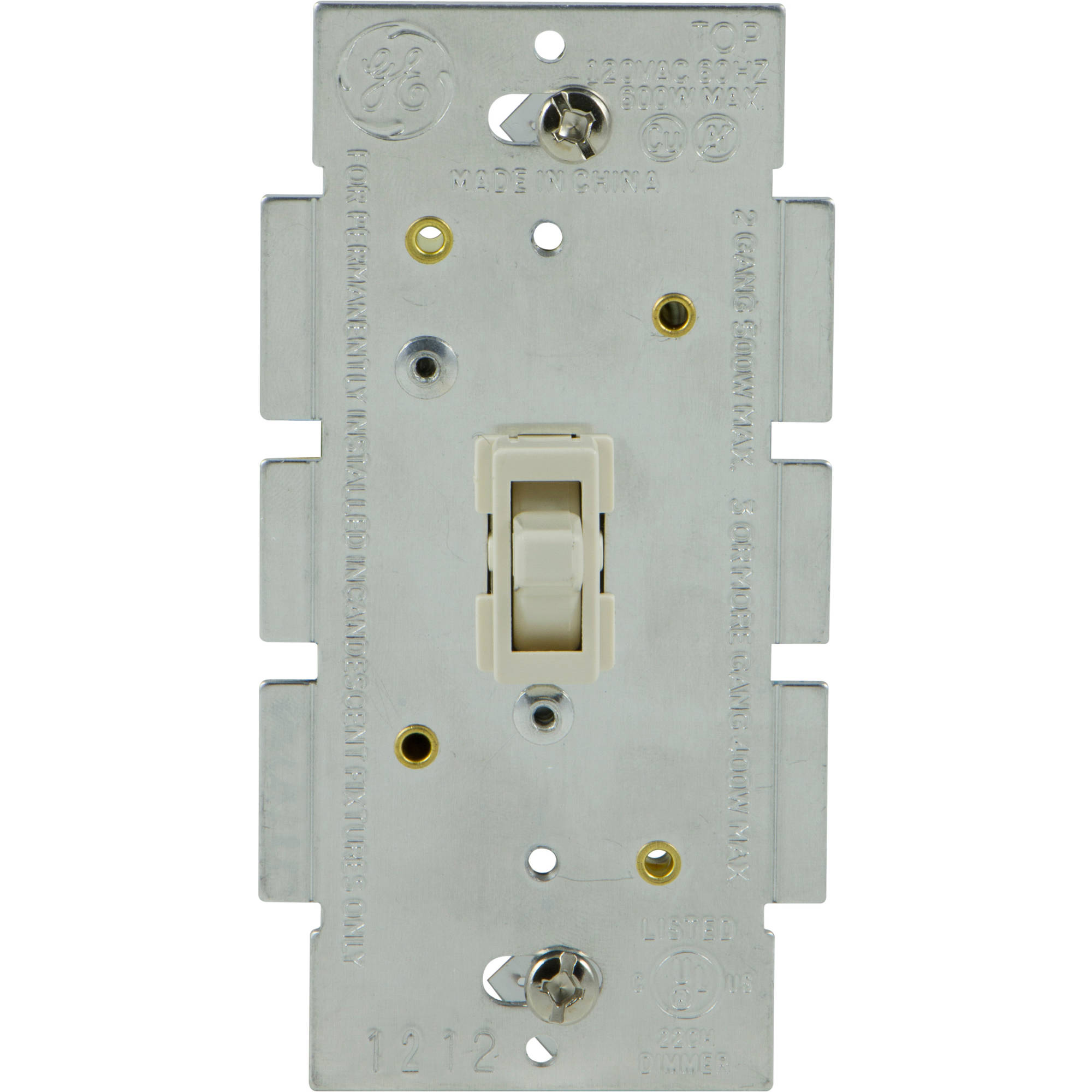 GE In-Wall Light Switch Dimmer, for Incandescent, LED, CFL Dimmable Bulbs, Single Pole, Ivory, 15053