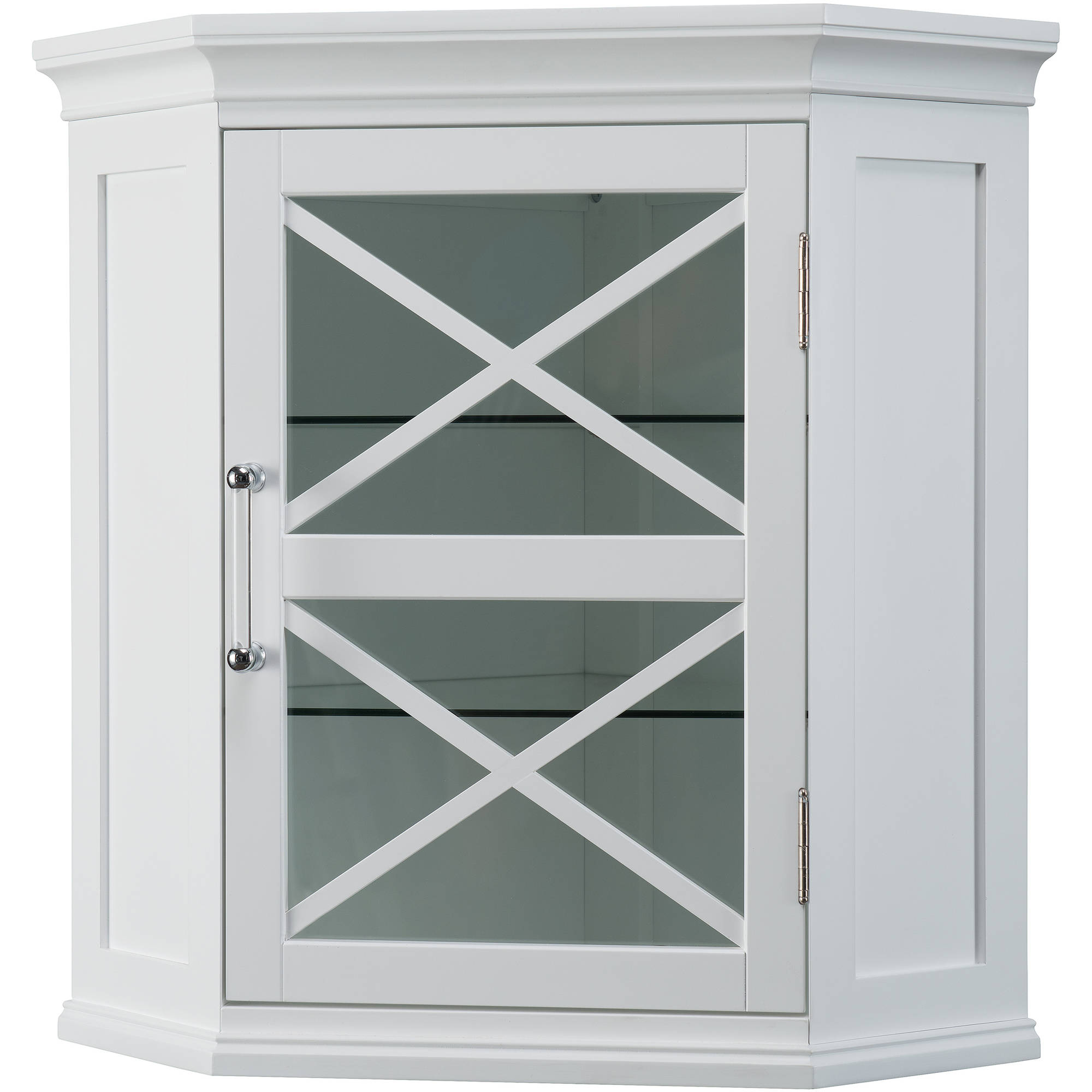 Blue Ridge Corner Floor Cabinet With Glass Door In White For Bathroom Storage Cabinets Cupboards Home Garden