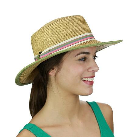 C.C Unisex Multicolored Striped Grosgrain Ribbon Band Skimmer Boater Hat, Toast/Olive](Italian Skimmer Hat)