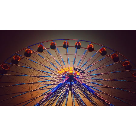 Park Carousel (Canvas Print Carousel Sky Wheel Review Attraction Wheel Park Stretched Canvas 32 x 24)