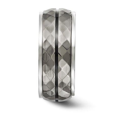 Edward Mirell Sterling Silver & Black Ti Inlay Black Stripe Ring Size 8 - image 1 of 4