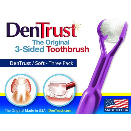3 PACK :: DenTrust 3-Sided Toothbrush :: Soft :: Wrap-Around Design with Automatic 45 Degree Angle :: Made in USAEssential Gumline Cleaning By The Original 3Sided DenTrust