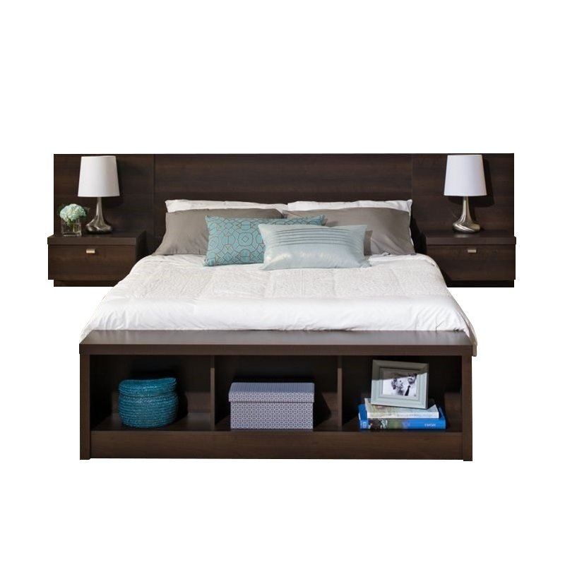 Prepac Series 9 Designer Platform Storage Bed with Floating Headboard in Espresso