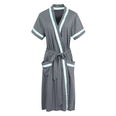 Richie House Women's Short Sleeve Cotton Bathrobe Robe RHW2753