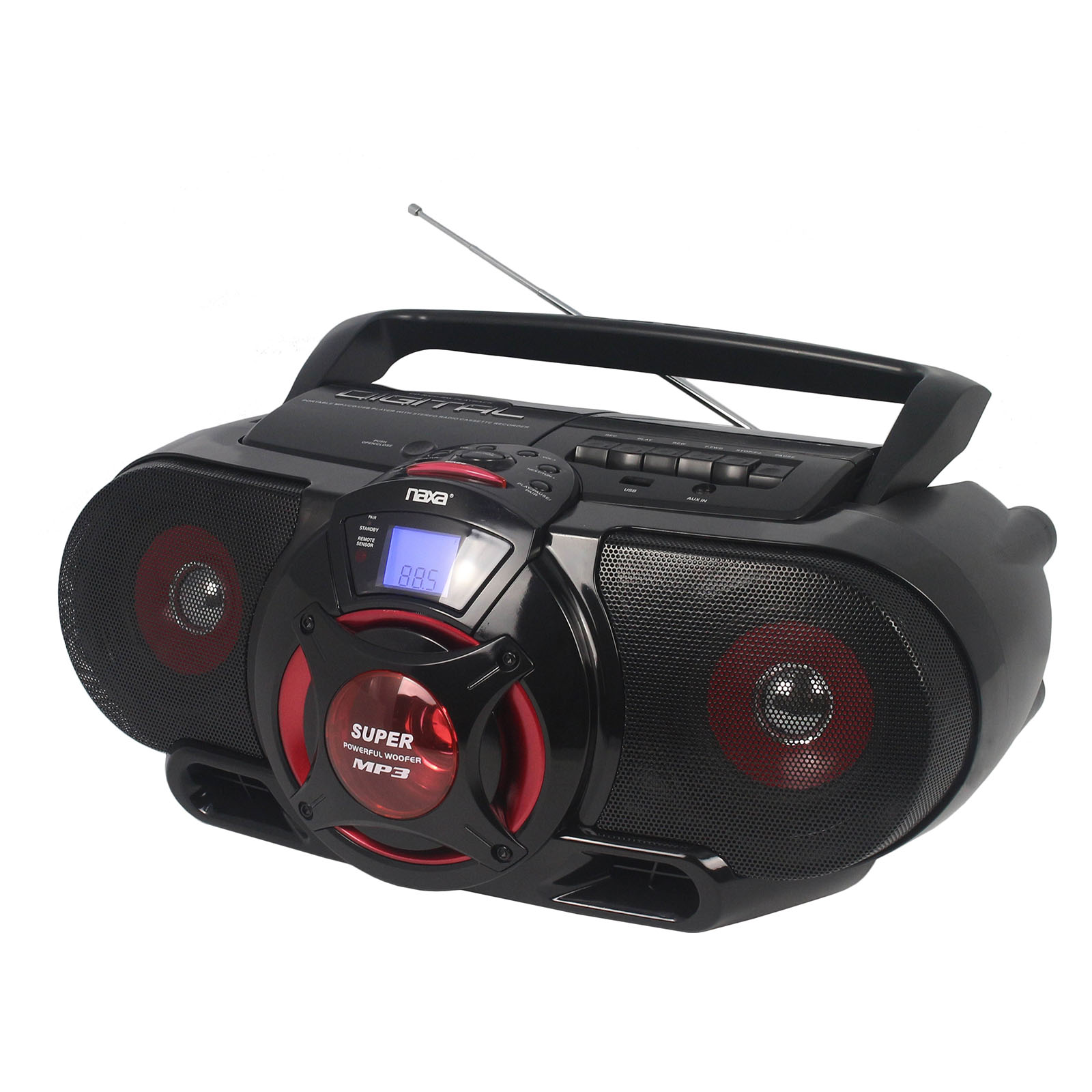 BT MP3/CD AM/FM Stereo Radio Cassette Player/Recorder with Subwoofer and USB Input