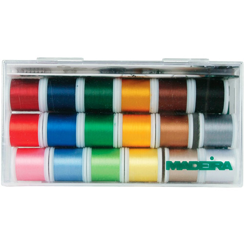 Madeira Rayon Thread Sampler, 18 Spools
