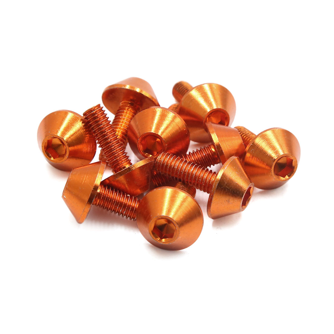 10pcs M6 Orange Aluminum Alloy Hex Socket Head Motorcycle Fairing Fastene Screws