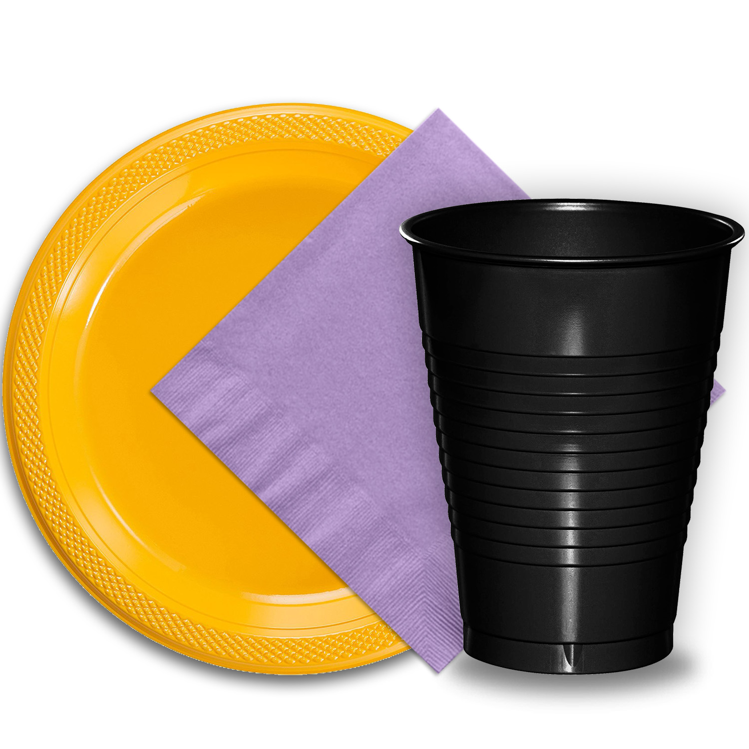 """50 Yellow Plastic Plates (9""""), 50 Black Plastic Cups (12 oz.), and 50 Lavender Paper Napkins, Dazzelling Colored Disposable Party Supplies Tableware Set for Fifty Guests."""