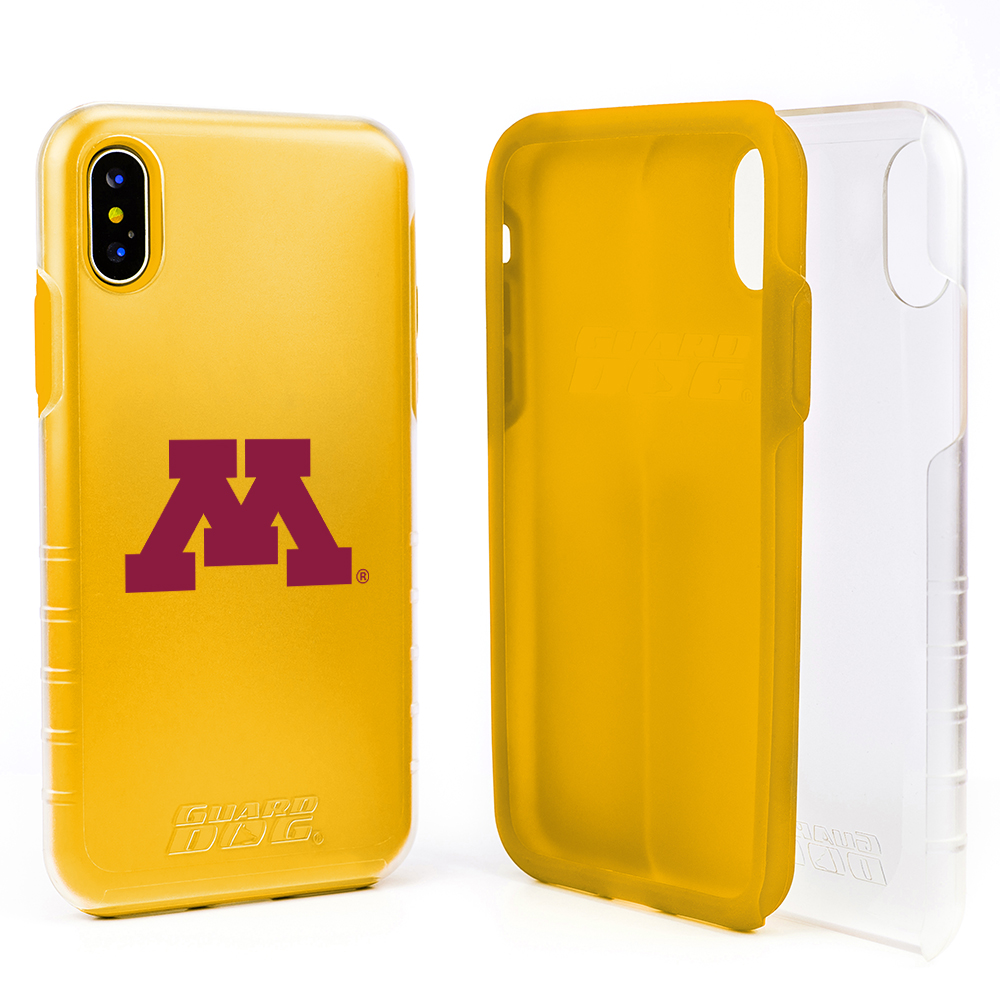 Minnesota Golden Gophers Clear Hybrid Case for iPhone X / Xs with Guard Glass Screen Protector - Clear with Yellow