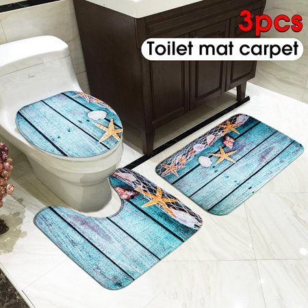 Name: Set 3 Pcs Toilet MatsSize:Square pad 44 * 75cmU-type pad 44 * 39cmToilet cover 38 * 40cmMaterial: Flannel + sponge + PVC non-slip endWeight: about 400gApply to: bathroom, toiletFeatures: - image 3 of 4