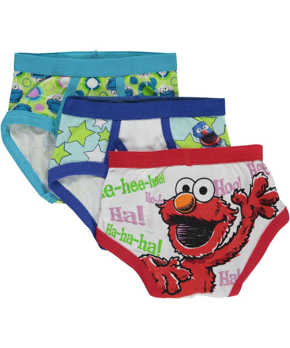 """Sesame Street Little Boys' Toddler """"Giggling Elmo"""" 3-Pack Briefs (Sizes 2T - 4T)"""