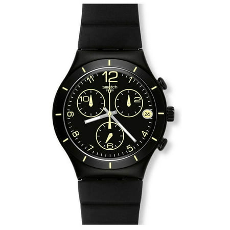 Swatch Summer Night Chronograph Black Dial Silicone Band Unisex Watch YCB4021 Dial Black Silicon Band
