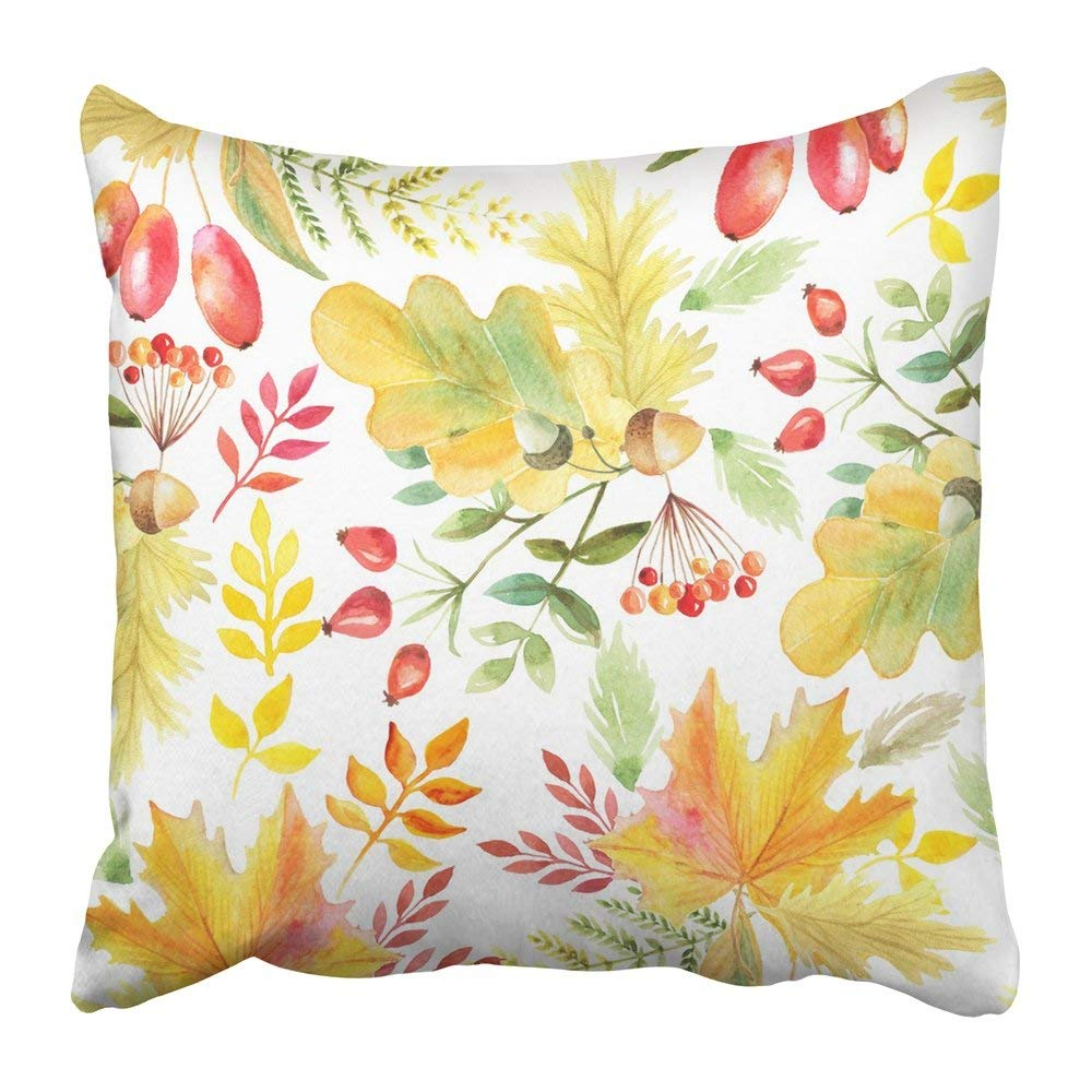 Bsdhome Hand Watercolor Autumn Leaves Branches And Berries Inspired By Forest Romantic Floral Perfect Pillowcase Pillow Cushion Cover 20x20 Inch Walmart Canada