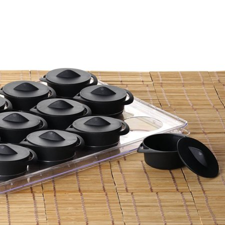 Plastic Party Trays With Lids (BalsaCircle Black 12 pcs 3 oz Plastic Pots with Lids and Display Tray - Disposable Wedding Party Catering)