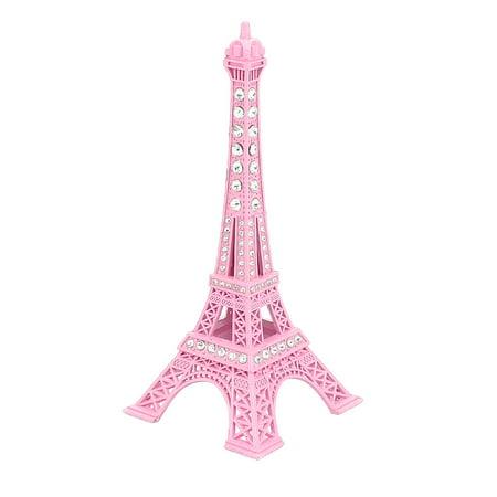 "Unique Bargains Rhinestone Decor Eiffel Tower Statue Vintage Model Ornament 5"" 13cm Height Pink"