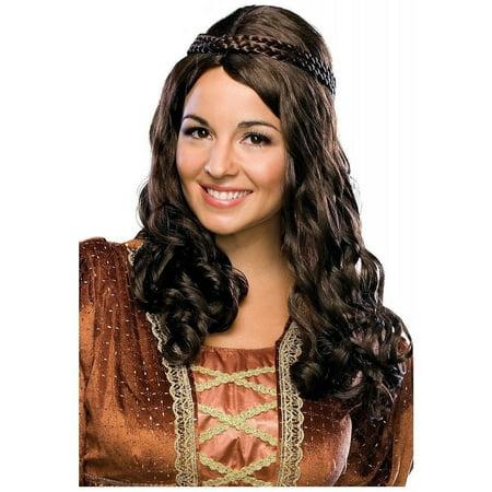 Renaissance Girl Medieval Braids Wrap Women's Brown/Auburn Costume Wig - Medieval Braids