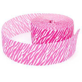 Pink Streamers (Zebra Stripes 'Pink' Animal Print Crepe Paper Streamer)