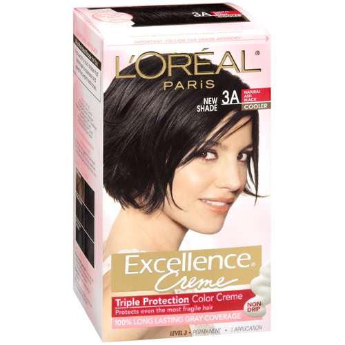 L'Oreal Paris Excellence Creme Triple Protection Color CrèMe 100% Gray Coverage Natural Ash Black Cooler 3A Hair Color, 1 Kt