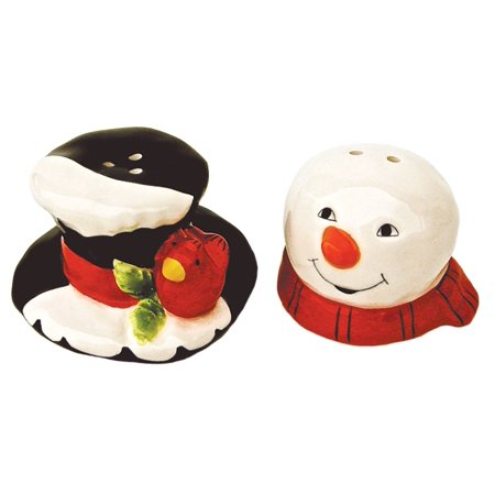 Snowman Head and Frostys Hat Salt and Pepper Shaker Set Ceramic - Pepper Head