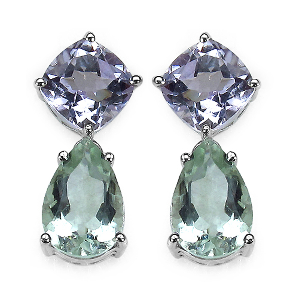 Genuine Cushion Pink Amethyst and Prasiolite (Green Amethyst) Earrings in Sterling Silver