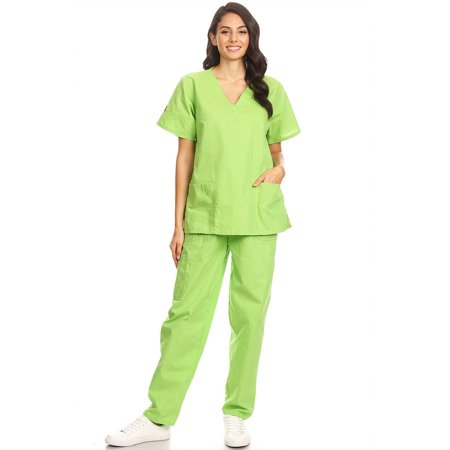 18f70a912d2 Fashion Brands Group - 2602 Women Scrub Sets V-Neck Medical Scrubs Draw  String and Elastic Band Lime S - Walmart.com